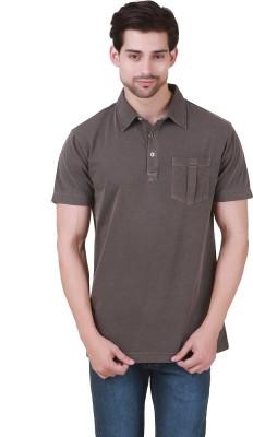 Cherymoya Solid Men's Round Neck Brown T-Shirt