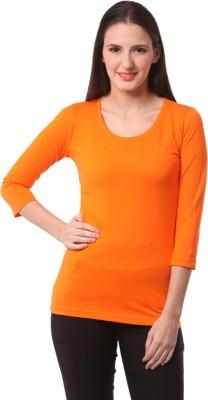 Fashionexpo Solid Women's Round Neck Orange T-Shirt