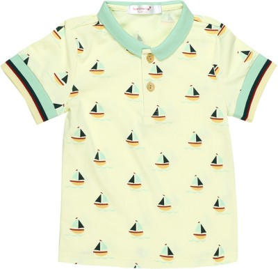 Baby Moshai Printed Baby Boy's Round Neck Yellow, Blue T-Shirt