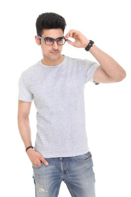 Colors and Blends Geometric Print Men,s Round Neck Grey T-Shirt