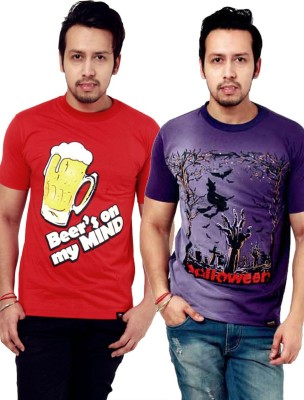 Crypticvoodoo Graphic Print Men's Round Neck Purple, Red T-Shirt