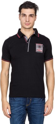 V9 Self Design Men's Polo Neck Black T-Shirt