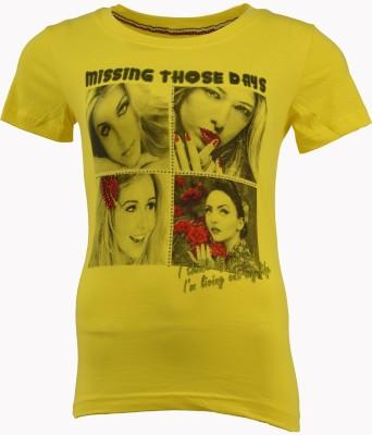 PIN POINT Printed Women's Round Neck Yellow T-Shirt