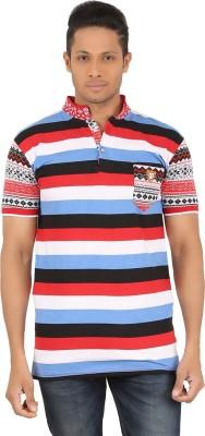 R-CROSS Striped Men,s Mandarin Collar Red, Blue T-Shirt