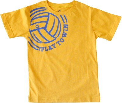 Anthill Printed Boy's Round Neck Yellow, Blue T-Shirt