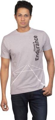 Moxi Printed Men's Round Neck Grey T-Shirt
