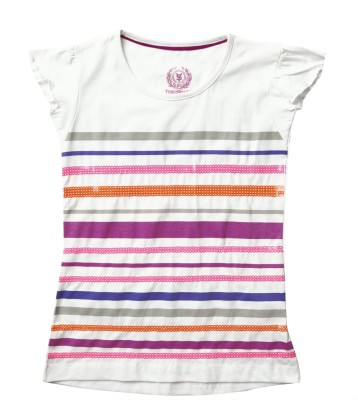 SuperYoung Striped Girl's Round Neck White T-Shirt