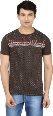 Minute Merge Printed Men's Round Neck Brown, White T-Shirt