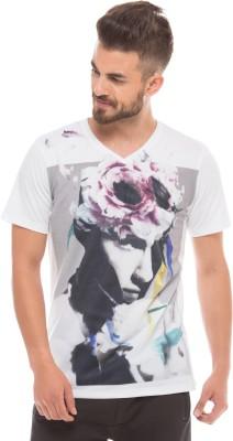 Shuffle Printed Men's V-neck White T-Shirt