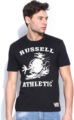 Russell Athletic Printed Men's Round Neck Black T-Shirt