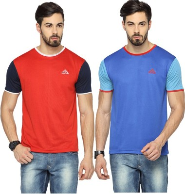 Canyons Solid Men's Round Neck Red, Blue T-Shirt