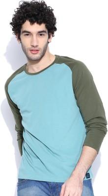 Cult Fiction Solid Men's Round Neck Light Blue T-Shirt