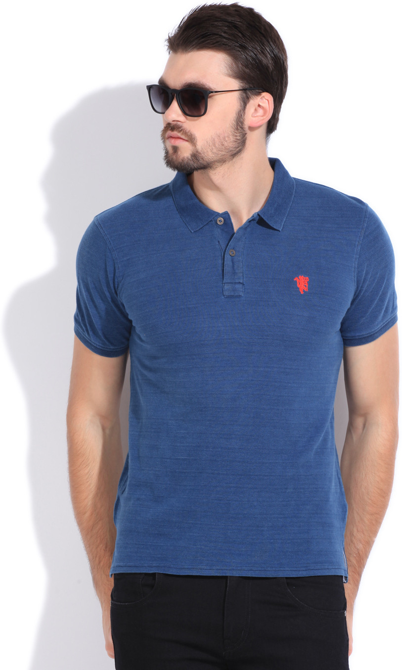 Manchester United Solid Men's Polo Neck Blue T-Shirt