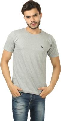 BrownBird Solid Men's Round Neck Grey T-Shirt