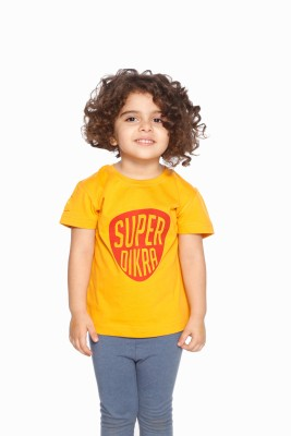 Daddy's Capes Printed Girl's Round Neck Yellow, Red T-Shirt