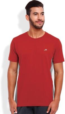 2go Solid Men's Round Neck Red, Grey T-Shirt