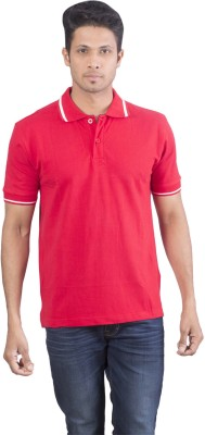 Oviyon Solid Men's Polo Neck Red T-Shirt