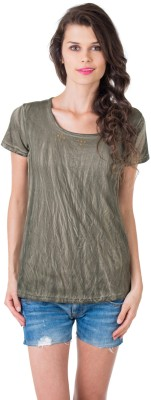 Gypsy Soul Solid Women's Round Neck Green T-Shirt