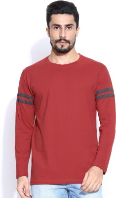 Hubberholme Solid Men's Round Neck Red T-Shirt