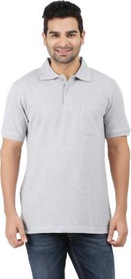 6P6 Solid Men's Polo Neck Grey T-Shirt
