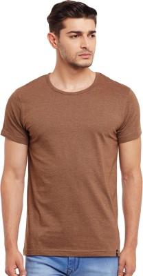 The Vanca Solid Men's Round Neck Brown T-Shirt