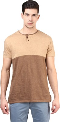 T-shirt Company Solid Men's Round Neck Brown T-Shirt