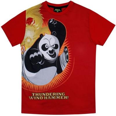 KUNG FU PANDA Printed Boy's Round Neck Red T-Shirt