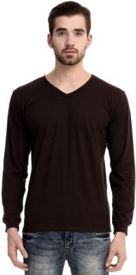 Mimoda Solid Men's V-neck Brown T-Shirt