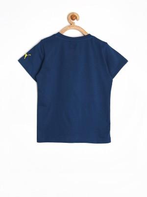 Puma Printed Boy's Round Neck Dark Blue T-Shirt