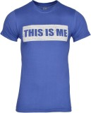Humtees Printed Men's Round Neck Blue T-...