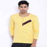 Le Bison Solid Men's Round Neck Yellow T...