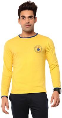 Ebry Solid Men's Round Neck Yellow T-Shirt