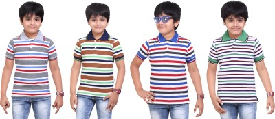 Dongli Striped Baby Boy's Polo Neck Grey, Dark Green, Dark Blue, White T-Shirt