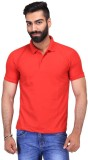 Ave Solid Men's Polo Neck Red T-Shirt