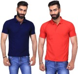 Ave Solid Men's Polo Neck Dark Blue, Red...