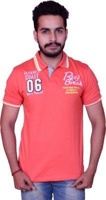 Inez Embroidered Men's Flap Collar Neck Orange T-Shirt