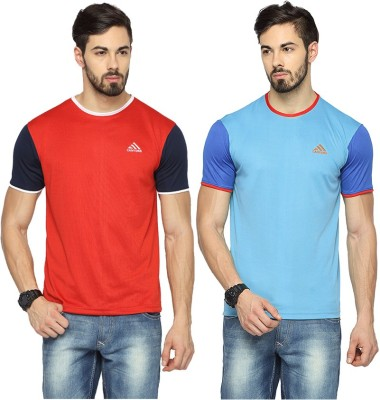 Canyons Solid Men's Round Neck Red, Light Blue T-Shirt
