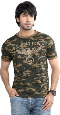 Difference of Opinion Printed Men's Round Neck Green T-Shirt