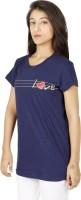 Red Rose Women's Clothing - Red Rose Printed Women's Round Neck Dark Blue T-Shirt