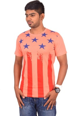 Rogue Printed Men's Round Neck Orange T-Shirt