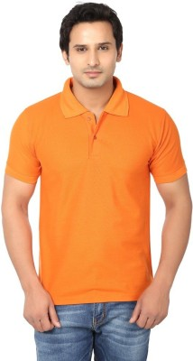 Goodtry Solid Men's Polo Orange T-Shirt