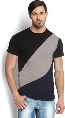 Kingaroo Solid Men's Round Neck Black, Grey, Blue T-Shirt