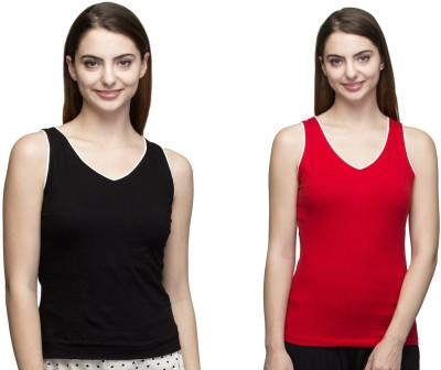 Dee Fashion House Solid Women's V-neck Red, Black T-Shirt