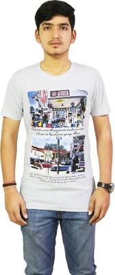live green Graphic Print Men,s, Boy's Round Neck White T-Shirt