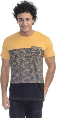 Superman Printed Men's Round Neck Yellow T-Shirt