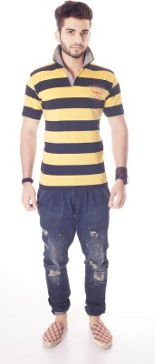 Fast Track Striped Men's Fashion Neck Yellow T-Shirt
