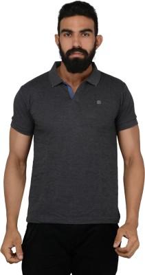 Gotit Solid Men's Flap Collar Neck Grey T-Shirt