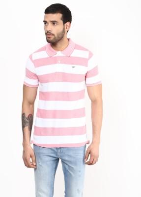 UV&W Striped Men's Polo Pink T-Shirt