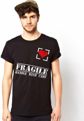 Witty Vogue Graphic Print Men's Round Neck Black T-Shirt
