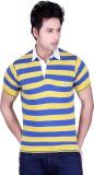 Dezyn Striped Men's Polo Neck Yellow, Bl...